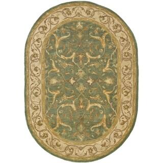 Safavieh Handmade Heritage Traditional Kashan Blue/ Beige Wool Rug (4'6 x 6'6)
