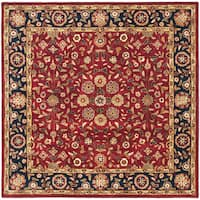Safavieh Handmade Heritage Timeless Traditional Red/ Navy Wool Rug - 6' x 6' Square