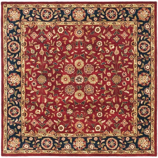 Safavieh Handmade Heritage Timeless Traditional Red/ Navy Wool Rug (6' Square)