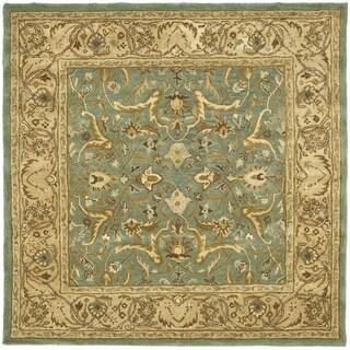 Safavieh Handmade Heritage Traditional Kashan Blue/ Beige Wool Rug (6' Square)
