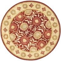 Safavieh Handmade Heritage Timeless Traditional Red/ Beige Wool Rug - 6' x 6' Round