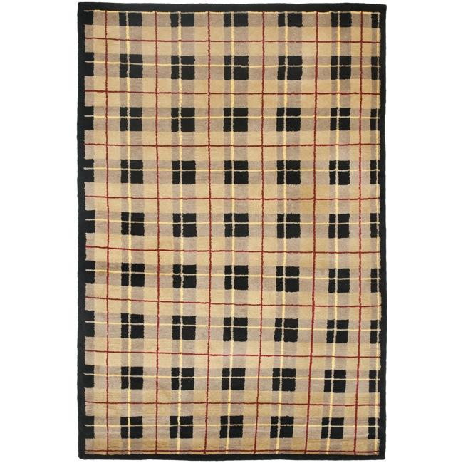 Safavieh Contemporary Hand-Knotted Lexington Plaid Beige Wool Rug (5' x 8')