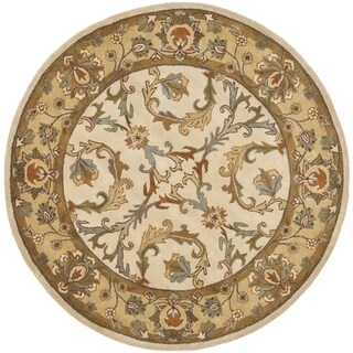 Safavieh Handmade Heritage Timeless Traditional Beige/ Gold Wool Rug (6' Round)