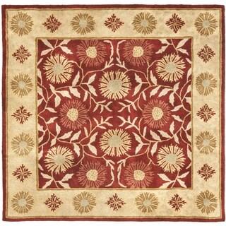 Safavieh Handmade Heritage Timeless Traditional Red/ Beige Wool Rug (6' Square)