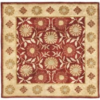 Safavieh Handmade Heritage Timeless Traditional Red/ Beige Wool Rug - 6' x 6' Square
