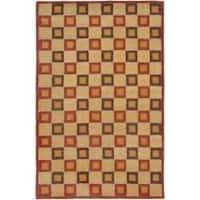 Safavieh Handmade Checkers Beige/ Rust Wool Rug - 5' x 8'