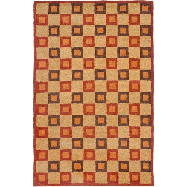 Safavieh Handmade New Zealand Checkers Beige/ Rust Rug - 8' x 10'