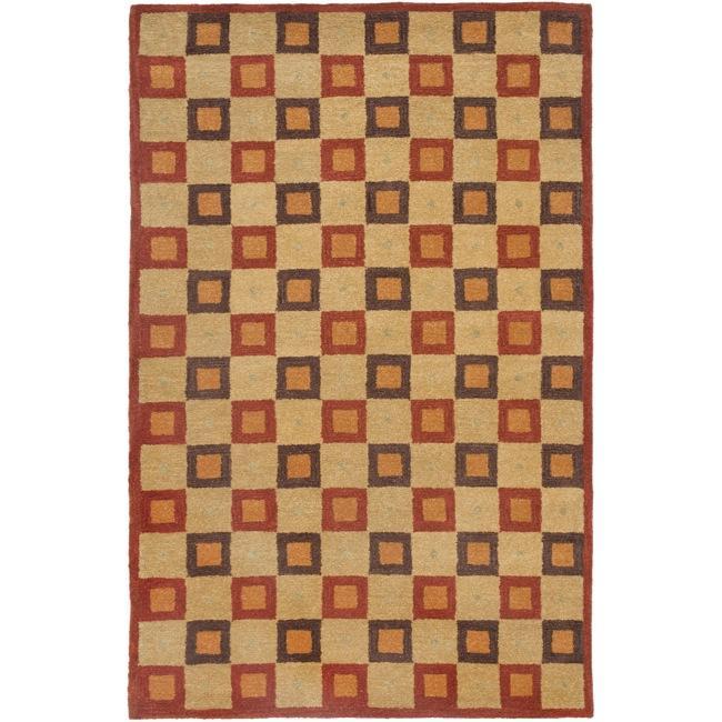 Safavieh Handmade New Zealand Checkers Beige/ Rust Rug (9' x 12')