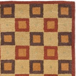 Safavieh Handmade New Zealand Checkers Beige/ Rust Rug (9' x 12') - Thumbnail 1