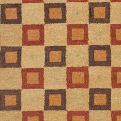 Safavieh Handmade New Zealand Checkers Beige/ Rust Rug (9' x 12') - Thumbnail 2