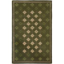 Safavieh Handmade Diamonds Green Wool Rug (5' x 8') - 5' x 8' - Thumbnail 0