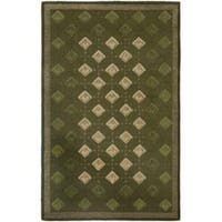Safavieh Handmade Diamonds Green Wool Rug - 5' x 8'