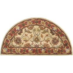 Hand-tufted Vault Beige/Red Traditional Border Wool Rug (2' x 4')