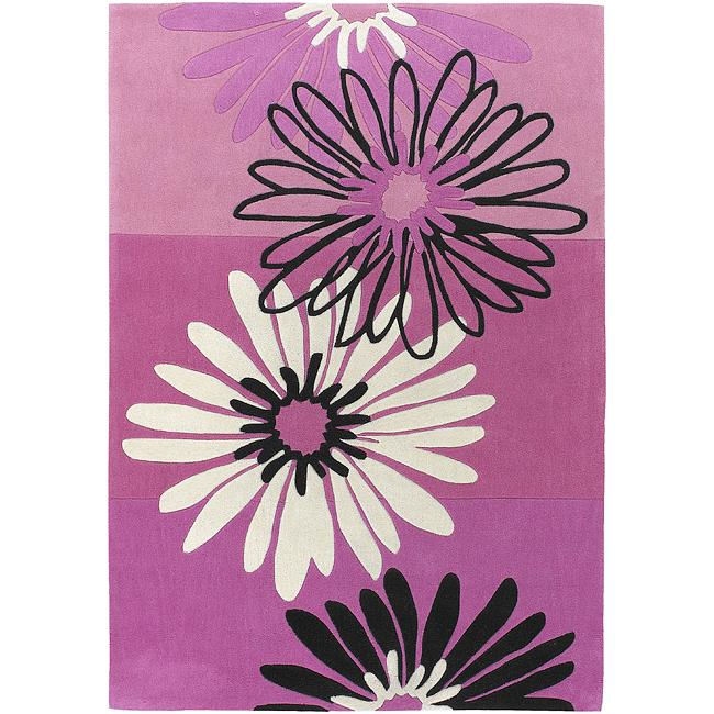 Hand-tufted Clay Wool Pink Floral Rug (4'10 x 7')