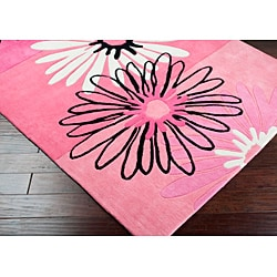 Hand-tufted Clay Wool Pink Floral Rug (4'10 x 7') - Thumbnail 1