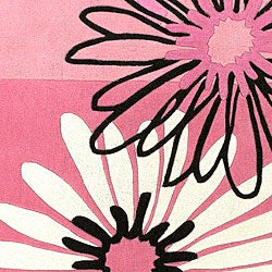 Hand-tufted Clay Wool Pink Floral Rug (4'10 x 7') - Thumbnail 2