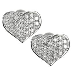 Journee Collection Silvertone Cubic Zirconia Heart Stud Earrings