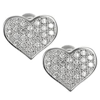 Journee Collection Silvertone Cubic Zirconia Heart Stud Earrings