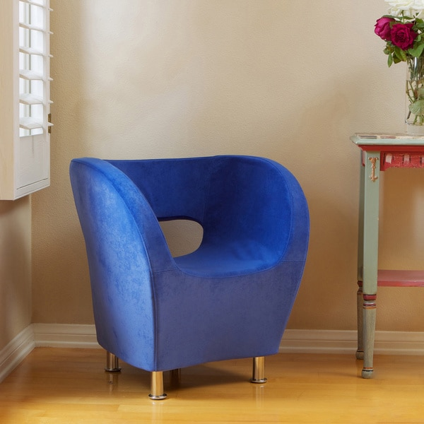 Modern Blue Microfiber Accent Chair by Christopher Knight Home