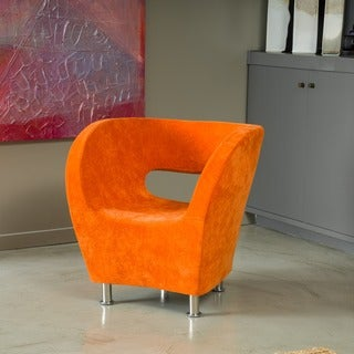 Modern Orange Microfiber Accent Chair by Christopher Knight Home