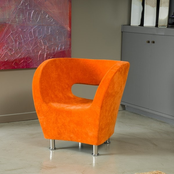 modern orange microfiber accent chair by christopher