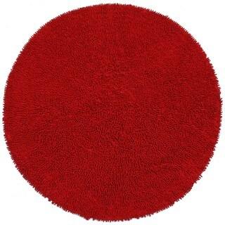 Hand-woven Shagadelic Red Chenille Round Rug (5' x 5') - 5' x 5'