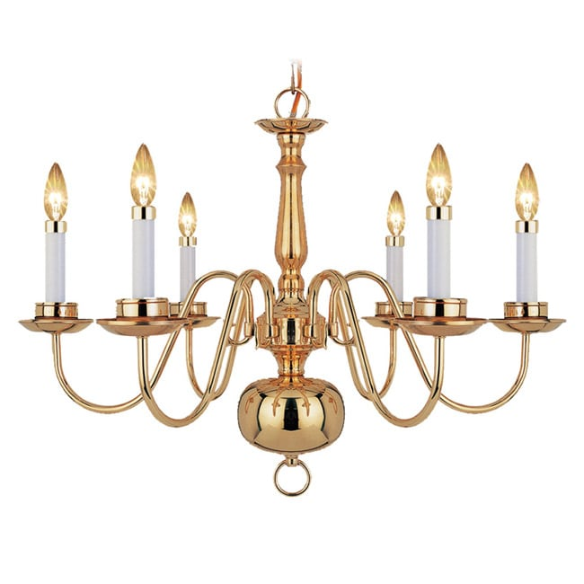Woodbridge Lighting Williamsburg 6-light Polished Bronze Chandelier