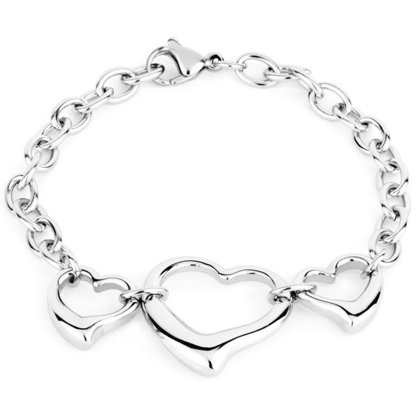 High-polish Stainless Steel Three Open Hearts Charm Bracelet