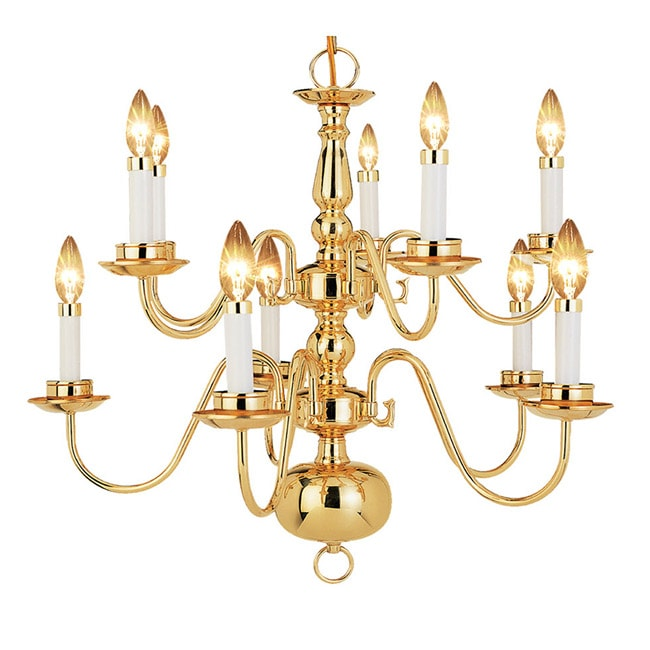 Woodbridge Lighting Williamsburg 10-light Polished Bronze Chandelier