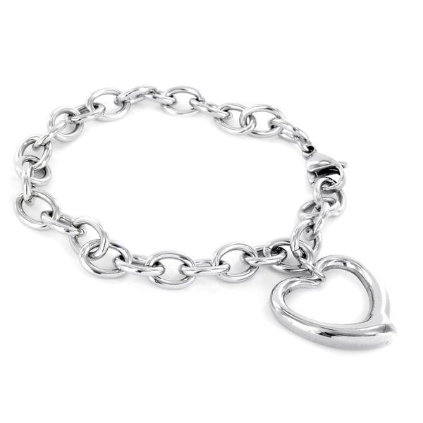 ELYA Women's Stainless Steel High-polish Heart-charm Chain Bracelet