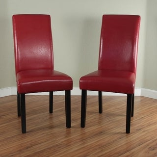 Villa Faux Leather Red Dining Chairs Set Of 2