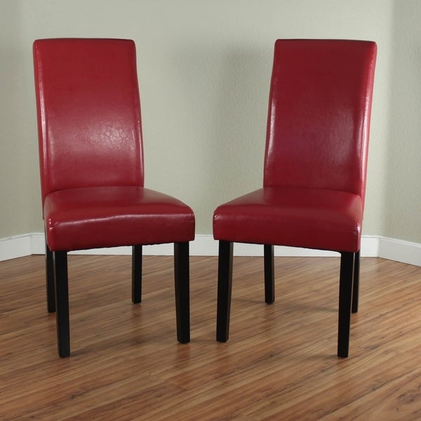 Villa faux leather red dining chairs set of 2 free for Leather kitchen chairs for sale
