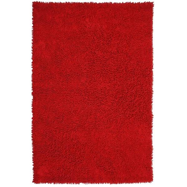 Hand-woven Shagadelic Red Chenille Shag Rug (4' x 6')