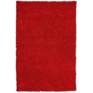 Hand-woven Shagadelic Red Chenille Shag Rug (2'6 x 4'2)