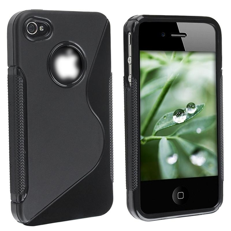 INSTEN TPU Phone Case Cover/ Anti-glare Screen Protector for Apple iPhone 4