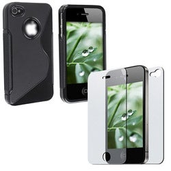 INSTEN TPU Phone Case Cover/ Anti-glare Screen Protector for Apple iPhone 4 - Thumbnail 1