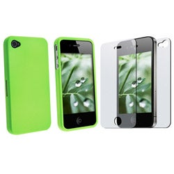 Light Green Case/ Screen Protector for Apple iPhone 4 - Thumbnail 1