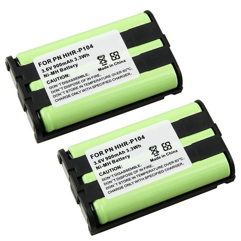INSTEN Ni-MH Cordless Green/ Black Phone Battery for Panasonic HHR-P104 (Pack of 2)