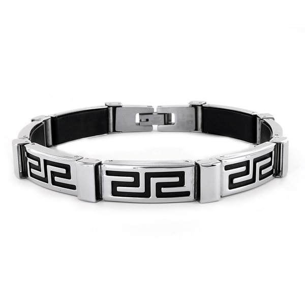 West Coast Jewelry Stainless Steel Greek Pattern Bracelet