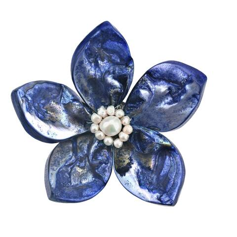 Handmade Colorful Ocean Flower Blue Dyed Seashells and White Pearls Brooch Pin (Thailand)