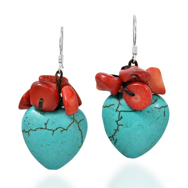 Lovely Heart Turquoise Synthetic Coral .925 Silver Dangle Earrings