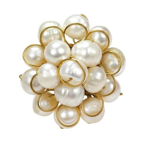 Handmade Brass Cluster White Pearl Organic Ring (Thailand)