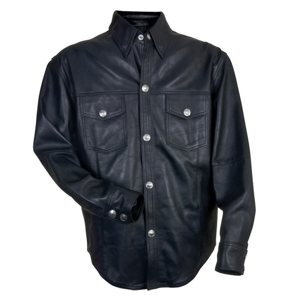 Mossi Men's Black Leather Shirt with Buffalo Nickel Snaps