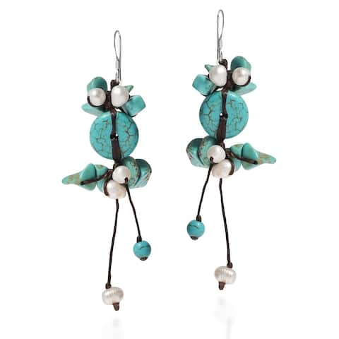 Handmade Cotton and Silver Turquoise and Pearl Earrings (Thailand)