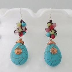 Handmade Copper Colorful Wrap Multi-gemstone Earrings (Thailand)