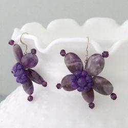 Amethyst and Crystal Purple Star Flower Earrings (Thailand)