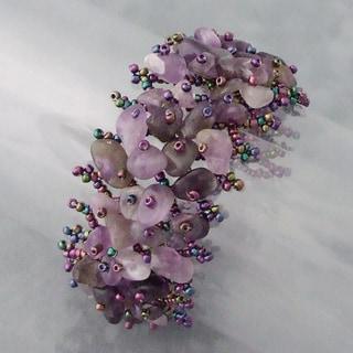 Handmade Amethyst Stone Grid Beaded Toggle Bracelet (Philippines)