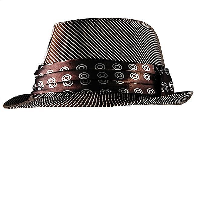 H2W Men's Brown/White Striped Fedora Hat