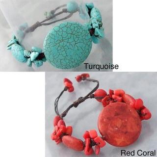 Cotton Rope Medallion Cluster Pull Bracelet (Thailand)