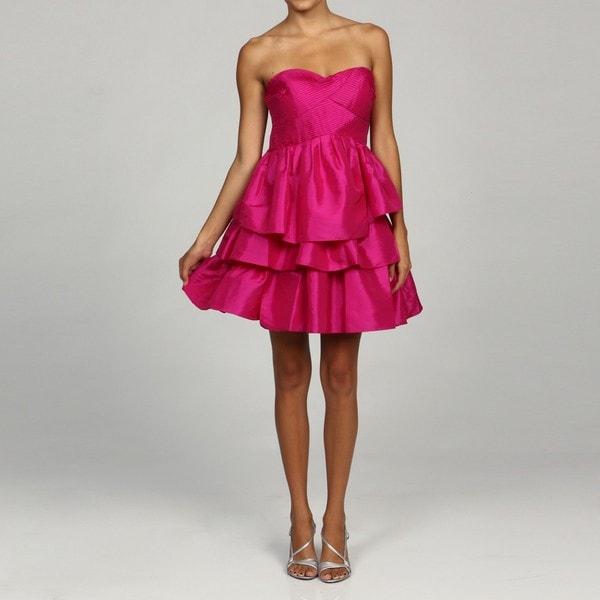 Jessica Simpson Women's Pink Strapless Tiered Dress